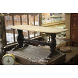 *BLACK AND PINE KITCHEN DINING TABLE, 180CM X 79CM X 72CM