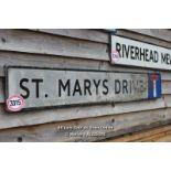 *METAL STREET SIGN 'ST MARYS DRIVE', 162CM X 23CM