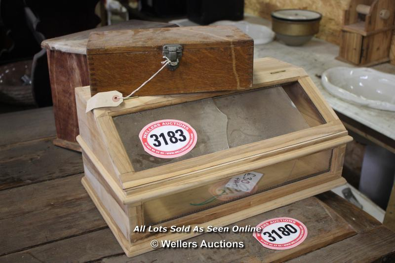 *THREE WOODEN CASES INCLUDING A DISPLAY CASE - Image 2 of 2