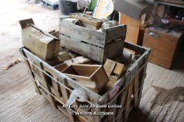 *CRATE CONTAINING VARIOUS COFFEE, TEA AND SUGAR CANISTERS, SOME ARE WOODEN AND SOME ARE PORCELAIN