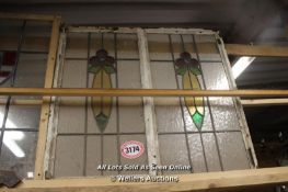 *PAIR OF STAINED GLASS CRITTAL WINDOWS, EACH 48.5CM X 91CM