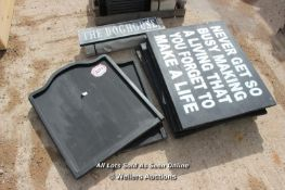*FIVE WOODEN SIGNS 'NEVER GET SO BUSY', 75CM X 59CM, TOGETHER WITH EIGHT VARIOUS OTHERS