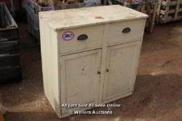 *VINTAGE PINE DRESSER, TWO DRAWERS OVER TWO CUPBOARDS, 92CM X 47CM X 92CM