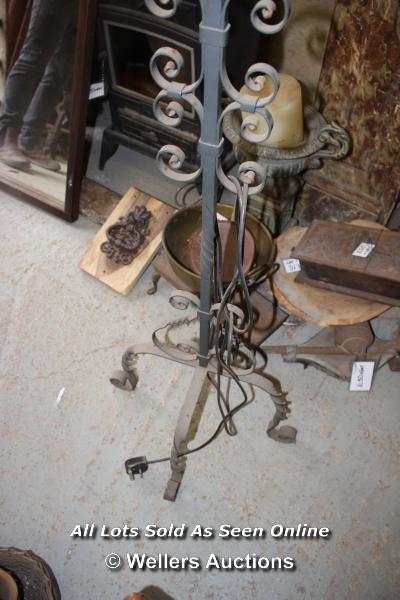 *WROUGHT IRON HIGH STANDING THREE BRANCH ELECTRIC CANDELABRA, 159CM HIGH - Image 2 of 3
