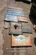 *TEN VARIOUS WOODEN SIGNS INCLUDING 'ALE HOUSE' AND 'THE MAD HATTER'