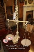 *BRASS WEIGHING SCALES WITH WEIGHTS (MISSING ONE WEIGHT)