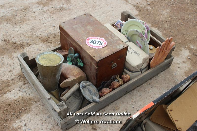 *CRATE OF VARIOUS BYGONES INCLUDING AN IRON AND VARIOUS REPRO SIGNS