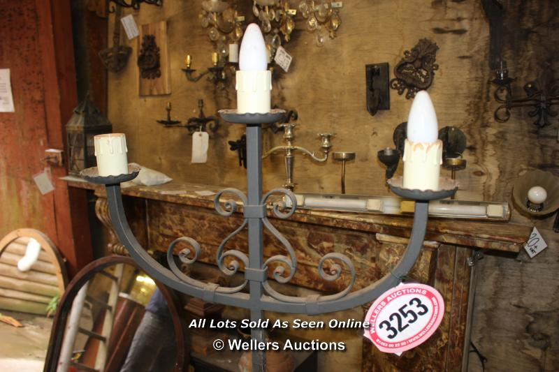 *WROUGHT IRON HIGH STANDING THREE BRANCH ELECTRIC CANDELABRA, 159CM HIGH - Image 3 of 3