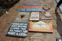 *TEN VARIOUS WOODEN SIGNS INCLUDING 'THE FAMILY BUTCHER' AND 'THE DOGHOUSE'
