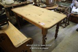 *PINE FARMHOUSE TABLE WITH TURNED LEGS, 151CM X 75CM X 76CM