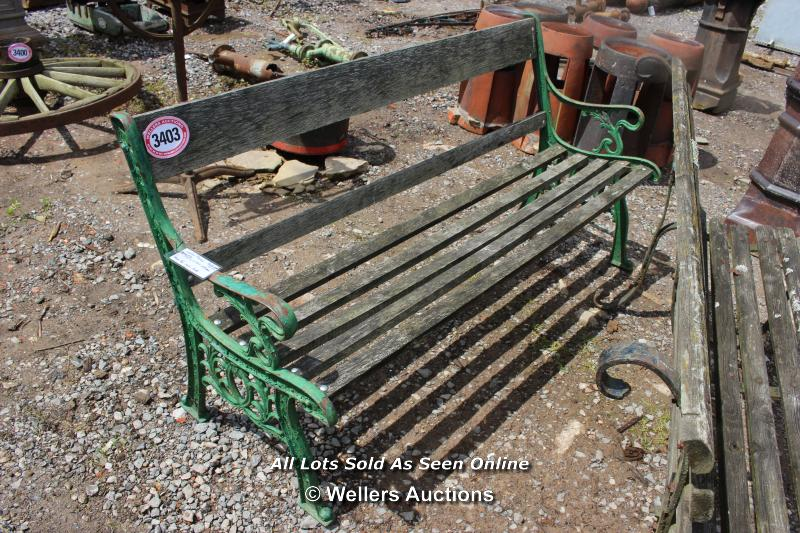 *WOODEN GARDEN BENCH WITH CAST IRON ENDS, 158CM LONG
