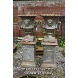 *PAIR OF CAST IRON DECORATIVE URNS WITH SNAKE HANDLES ON MATCHING PEDESTALS, EACH 59CM DIAMETER ON