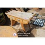 *WOODEN CONSORT TABLE WITH TWO DRAWERS, 121CM X 45CM X 90CM