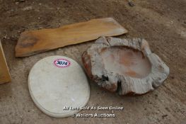 *THREE ASSORTED ITEMS INCLUDING A LARGE WOODEN DISH