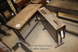 *TWO WOODEN TABLES, ONE DROP-LEAF AND ONE WITH TURNED LEGS
