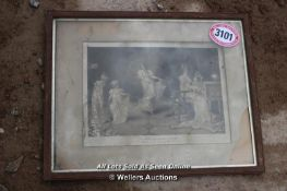 *FRAMED AND GLAZED PICTURE 'WHEN THE HEARTS WERE YOUNG' (DAMAGED GLASS)
