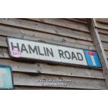 *METAL STREET SIGN 'HAMLIN ROAD', 114CM X 23CM