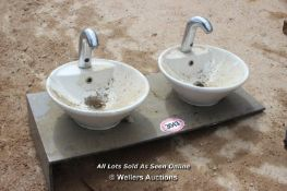 *PAIR OF HIS AND HERS BATHROOM SINKS COMPLETE WITH TAPS