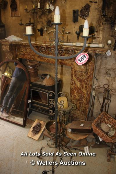*WROUGHT IRON HIGH STANDING THREE BRANCH ELECTRIC CANDELABRA, 159CM HIGH