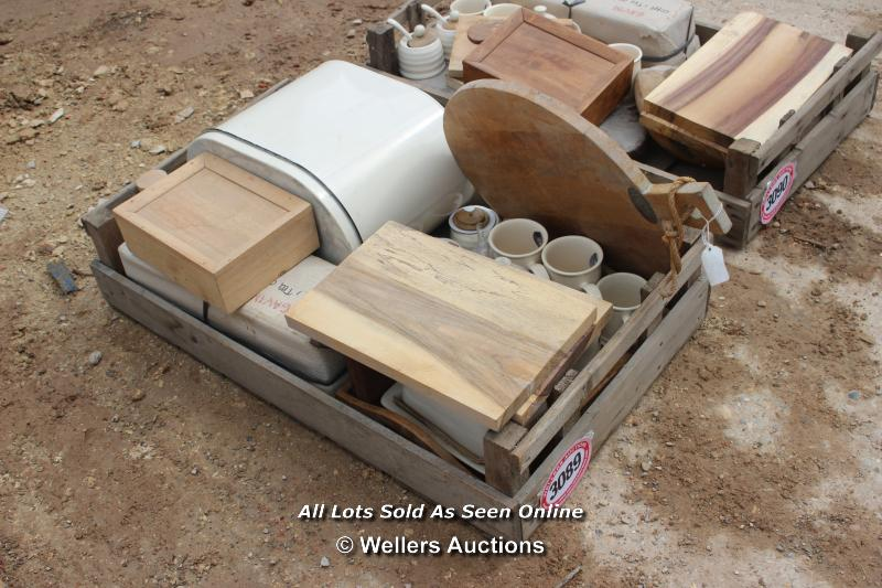 *CRATE OF ASSORTED VINTAGE ITEMS AND A PACK OF REPRO SIGNS