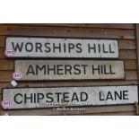 *METAL STREET SIGN 'AMHERST HILL', 122CM X 23CM
