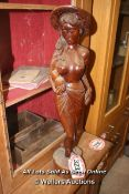 *WOODEN STATUE OF AN ORIENTAL LADY, 75CM HIGH