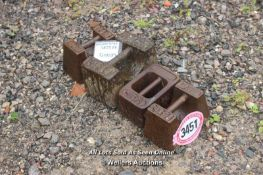 *FOUR VARIOUS IRON WEIGHTS INCLUDING AVERY