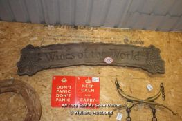 *WINES OF THE WORLD' LARGE WOODEN SIGN, 190CM X 32CM