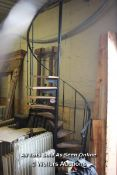 *METAL SPIRAL STAIRCASE WITH ELEVEN TREADS, COMPLETE WITH HANDRAIL