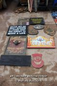 *TEN VARIOUS WOODEN SIGNS INCLUDING 'FORD AND SLATER' AND 'WATCHES, CLOCKS AND JEWELLERY'