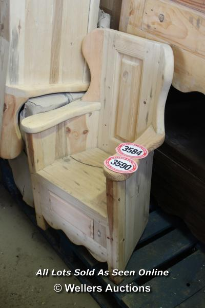 *PINE LAMBING CHAIR WITH BUILT IN DRAWER (SUITABLE FOR CHILDREN), 74CM HIGH
