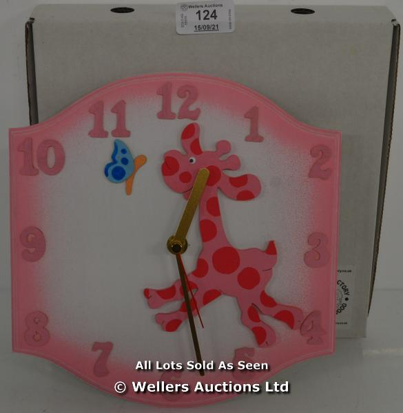 SAWDUST FACTORY, CHILDS CLOCK,QUARTZ, PINK GIRAFFE / APPEARS TO BE NEW - OPENED BOX