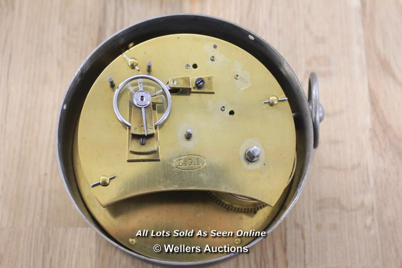 HEAVY BRASS CASED MECHANICAL CLOCK, EGL MOVEMENT, ENAMELED WHITE ROMAN DIAL, SIGNS OF AGE, - Image 2 of 2