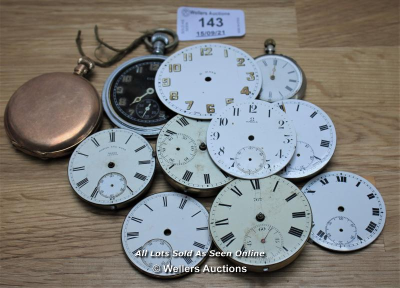 SPARE & REPAIRS,BOX OF MIXED POCKET WATCHES AND DIALS,INCLUDING ELGIN,OMEGA,TRIUMPH,