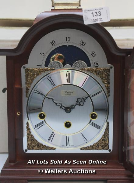 RAPPORT MECHANICAL MOON PHASE,ROMAN NUMERAL, BELL STRIKE, MANTLE CLOCK / APPEARS TO BE NEW - - Image 2 of 5