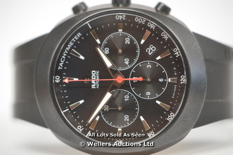 GENTS RADO DIASTAR BLACK CHRONOGRAPH, LIMITED EDITION NO 0626/1111, AUTOMATIC CHRONOGRAPH WITH DATE, - Image 3 of 4