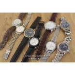 8X GENTS WATCHES,VARIOUS BRANDS INCLUDING PULSAR,LORUS,VANHEUSEN, ALL SPARES AND REPAIRS