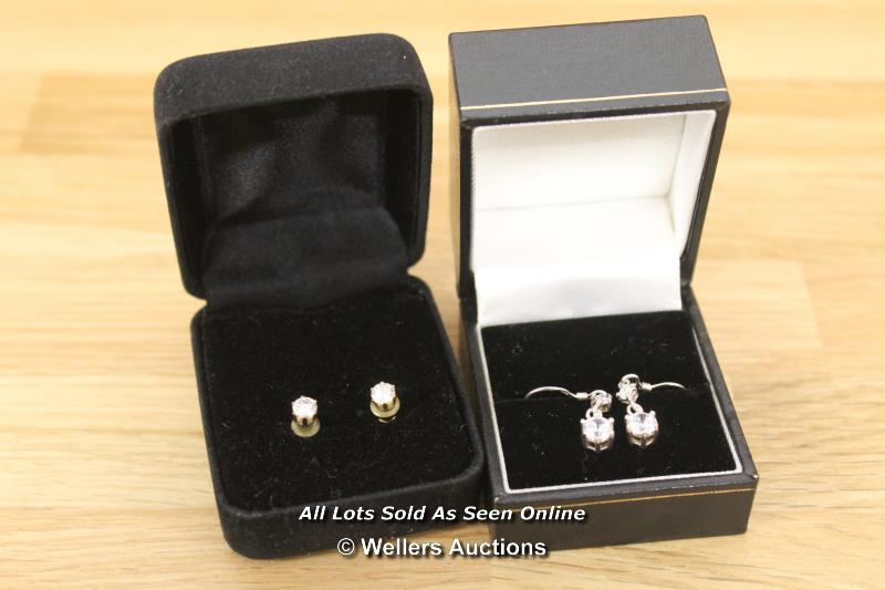 TWO BOXED CUBIC ZIRCONIA SET OF EARRINGS