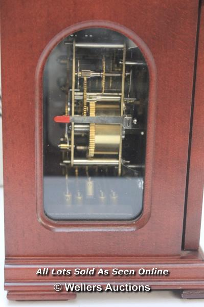 RAPPORT MECHANICAL MOON PHASE,ROMAN NUMERAL, BELL STRIKE, MANTLE CLOCK / APPEARS TO BE NEW - - Image 3 of 5