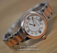 *LADIES FREDERIQUE CONSTANT, CLASSICS DELIGHT,STEEL AND ROSE GOLD PLATTED WITH WHITE GUILLOCHE