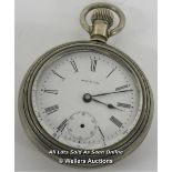 WALTHAM,MECHANICAL POCKET WATCH,WHITE ROMAN DIAL,SUB SECONDS HAND MISSING,REQUIRES RESTORATION