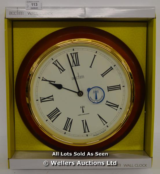 ACCTIM,DURHAM, RADIO CONTROLLED WALL CLOCK,ANALOGUE, WOOD FINISH. / NEW & SEALED