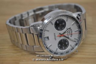 *GENTS ROTARY AVENGER WATCH, QUARTZ MOVEMENT, 2 SUB DIAL CHRONOGRAPH, SILVER BATTON DIAL WITH