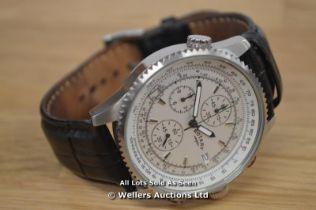 *GENTS ROTARY STEEL CHRONOGRAPH ,SILVER BATTON DIAL WITH DATE,QUARTZ MOVEMENT, BLACK LEATHER PIN
