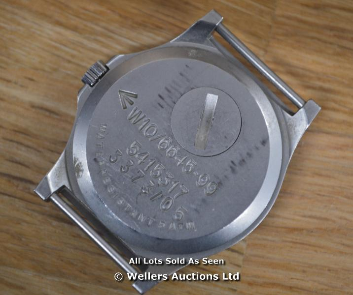 *GENTS BRITISH MILITARY ISSUED CWC WATCH, 34MM SATIN STEEL CASE, QUARTZ MOVEMENT , CIRCLE T BLACK - Image 2 of 2