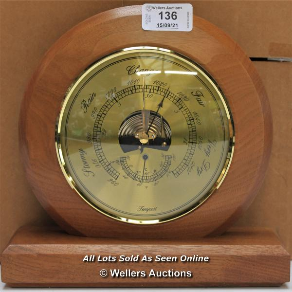 TEMPEST, WEATHER BARROMETER, WALNUT FINISH / APPEARS TO BE NEW - OPENED BOX