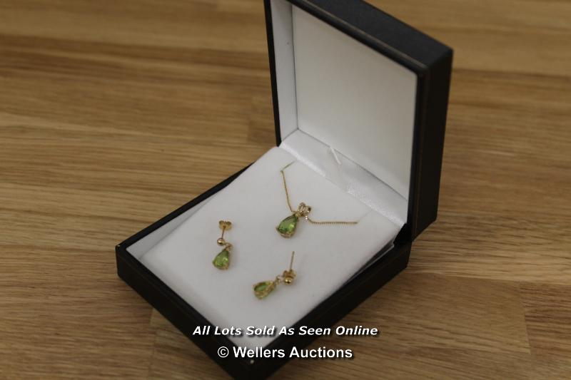9CT PERIDOT SET EARRINGS AND NECKLACE