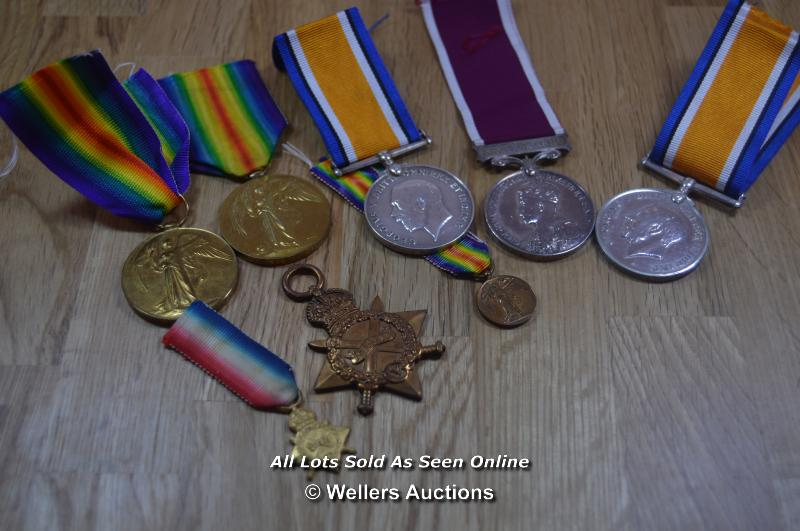 COLLECTION OF BRITISH GREAT WAR IMPERIAL SERVICE MEDALS INCLUDING 2X MINITURES 6X FULL SIZE MEDALS