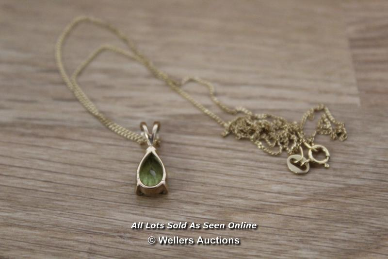 9CT PERIDOT SET EARRINGS AND NECKLACE - Image 3 of 3
