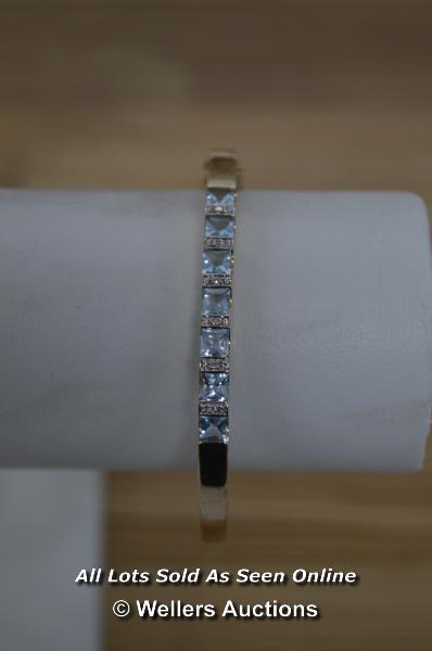 LADIES 9CT ROSE GOLD AQUAMARINE AND DIAMOND SET BANGLE (12.7G) - Image 2 of 2